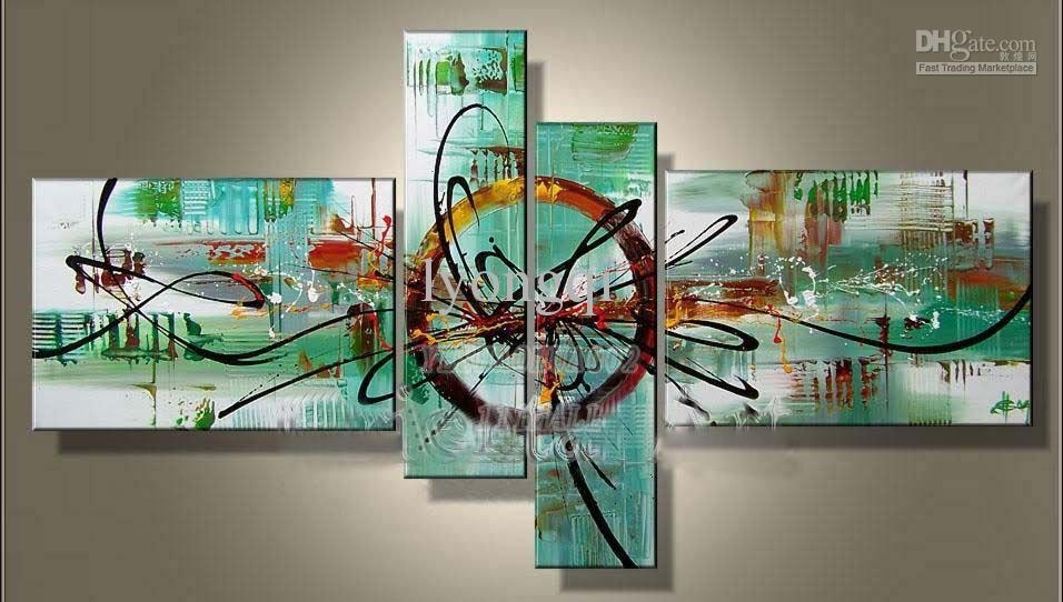 2018 Hand Painted Hi Q Modern Wall Art Home Decorative Abstract Oil Throughout Modern Abstract Painting Wall Art (Image 4 of 25)