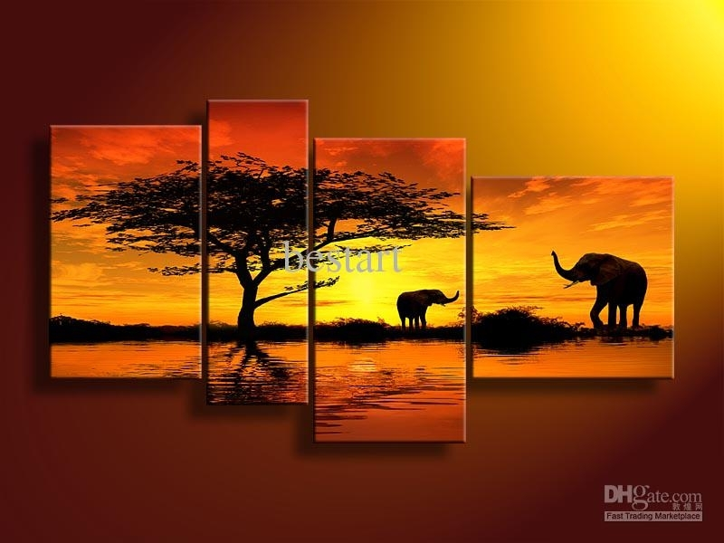 2018 Hand Painted Oil Wall Art Forest Elephants Landscape Oil intended for Wall Art Paintings