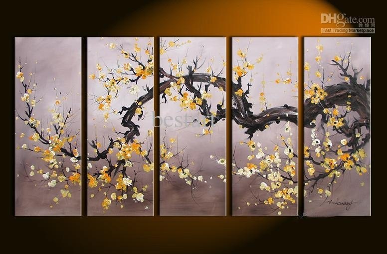 2018 Hand Painted Oil Wall Art Golden Yellow Flower Decoration Inside Yellow Wall Art (Image 1 of 20)