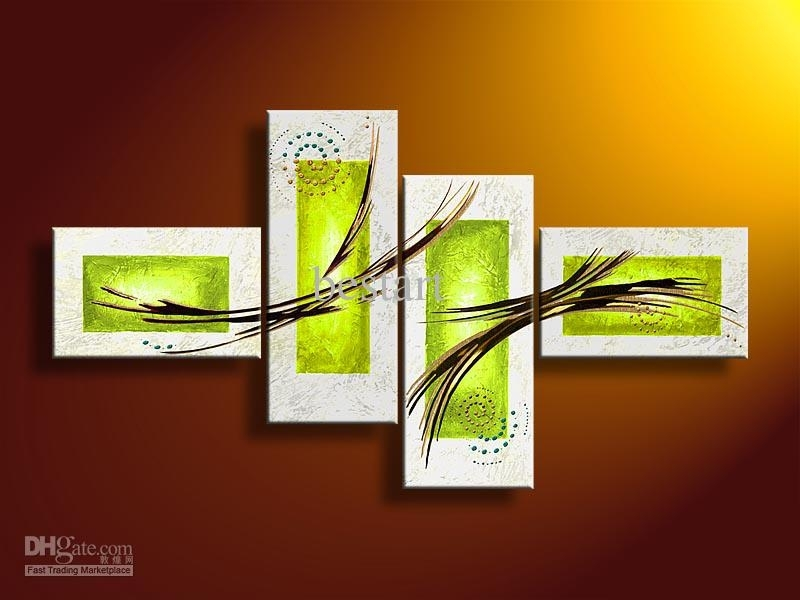 2018 Hand Painted Oil Wall Art Pale Green Line Abstract Oil Painting With Regard To Green Wall Art (Image 4 of 25)