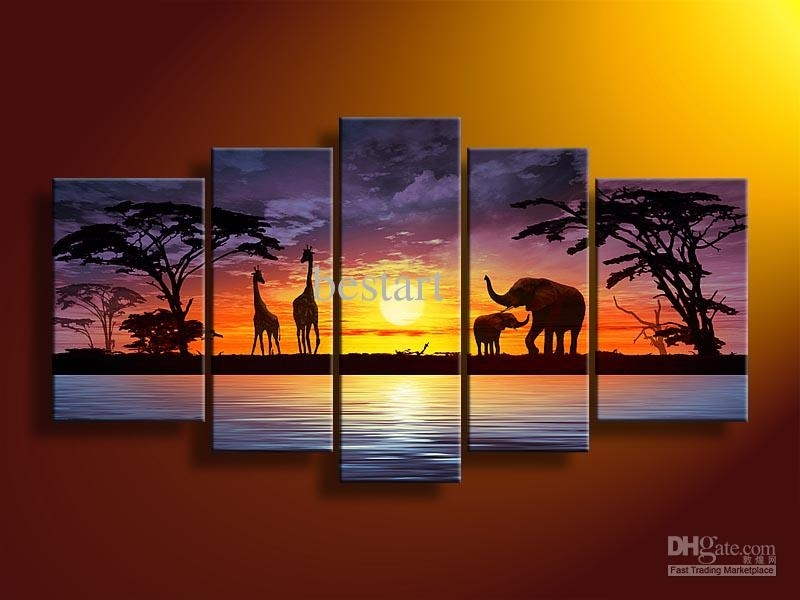 2018 Hand Painted Oil Wall Art Sun Elephants Deer Landscape Oil Regarding Wall Art Paintings (Image 6 of 25)