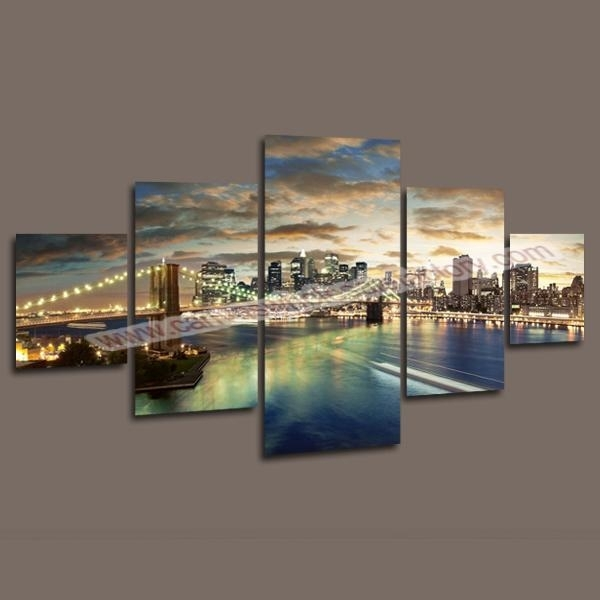 2018 Home Decor Canvas 5 Panel Wall Art Painting Of Manhattan Throughout 5 Panel Wall Art (Image 3 of 25)