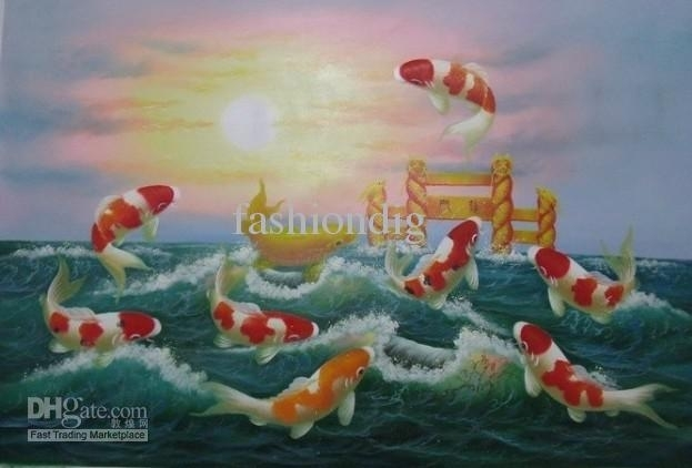 2018 Koi Feng Shui Oil Painting Canvas Fish Jumping Sunrise Painting For Fish Painting Wall Art (Image 2 of 25)