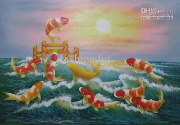 2018 Koi Jumping Painting Art Feng Shui Fish Oil Painting Sunrise Regarding Fish Painting Wall Art (View 20 of 25)