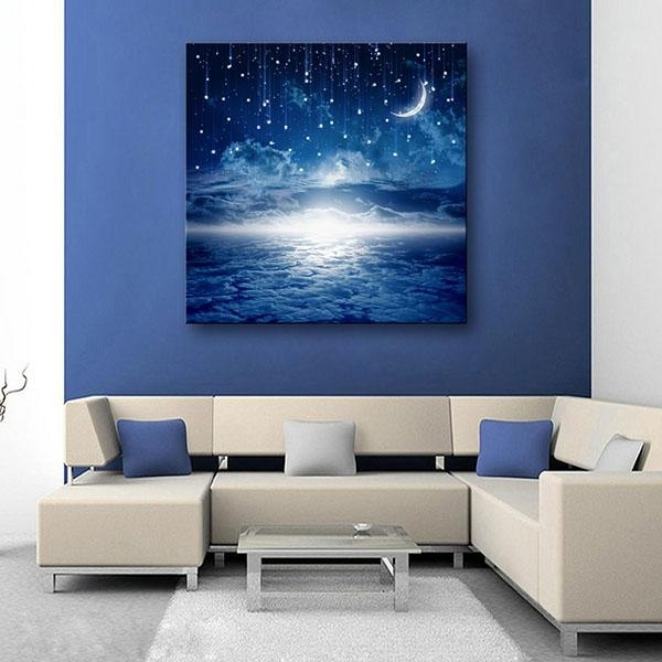 2018 Led Canvas Moon Lighted Wall Art Decoration Canvas Painting inside Lighted Wall Art