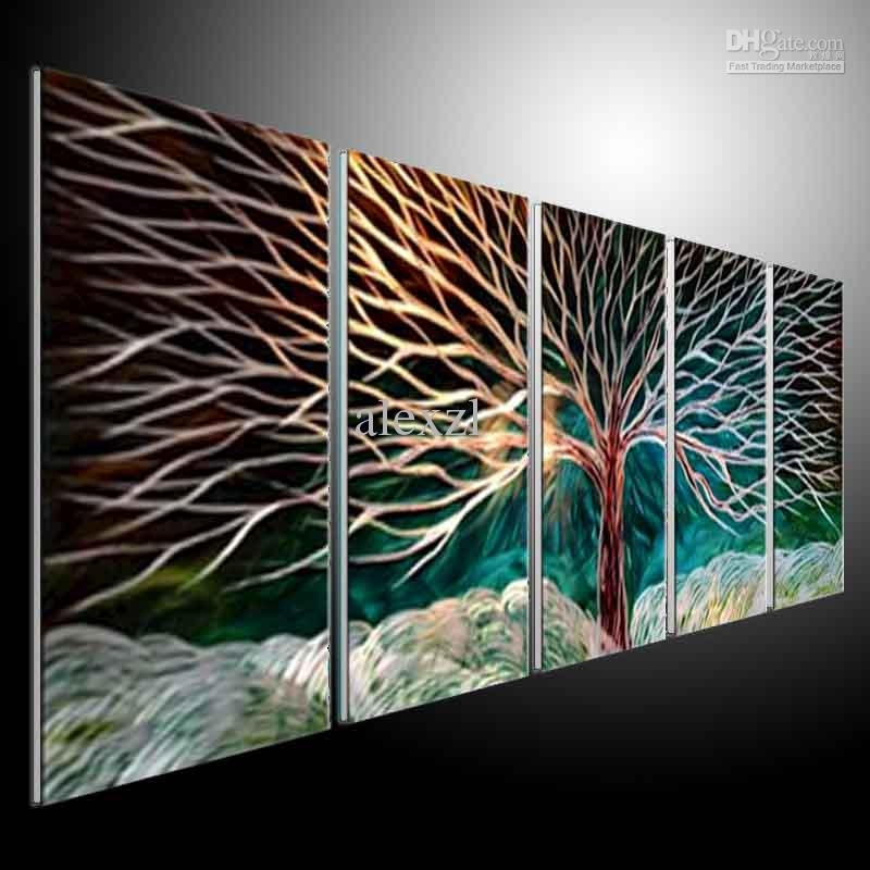 2018 Metal Wall Art Abstract Modern Sculpture Painting Handmade 5 With Regard To Metal Wall Art Panels (View 5 of 20)