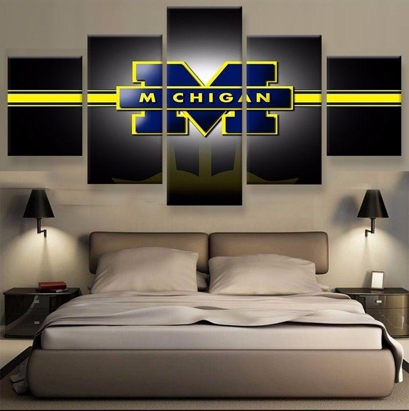 2018 Michigan Football,canvas Prints Wall Art Oil Painting Home Intended For Michigan Wall Art (Image 1 of 25)