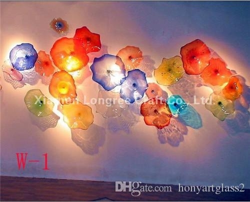 2018 Multi Color Blown Glass Hanging Wall Plates Wedding Decorative Pertaining To Blown Glass Wall Art (Photo 2 of 25)