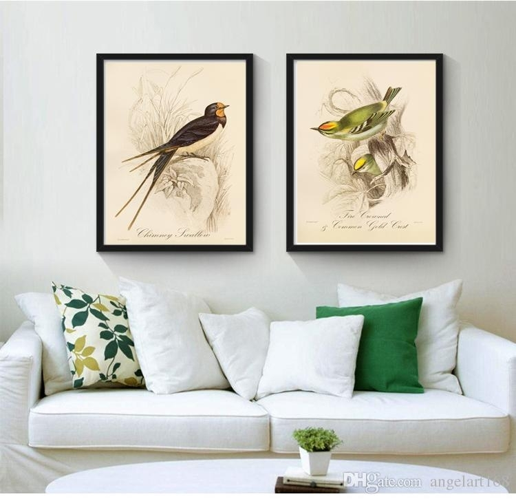 2018 No Frame Line Drawing Birds Modern Oil Painting On Canvas Regarding Bird Framed Canvas Wall Art (Image 2 of 25)