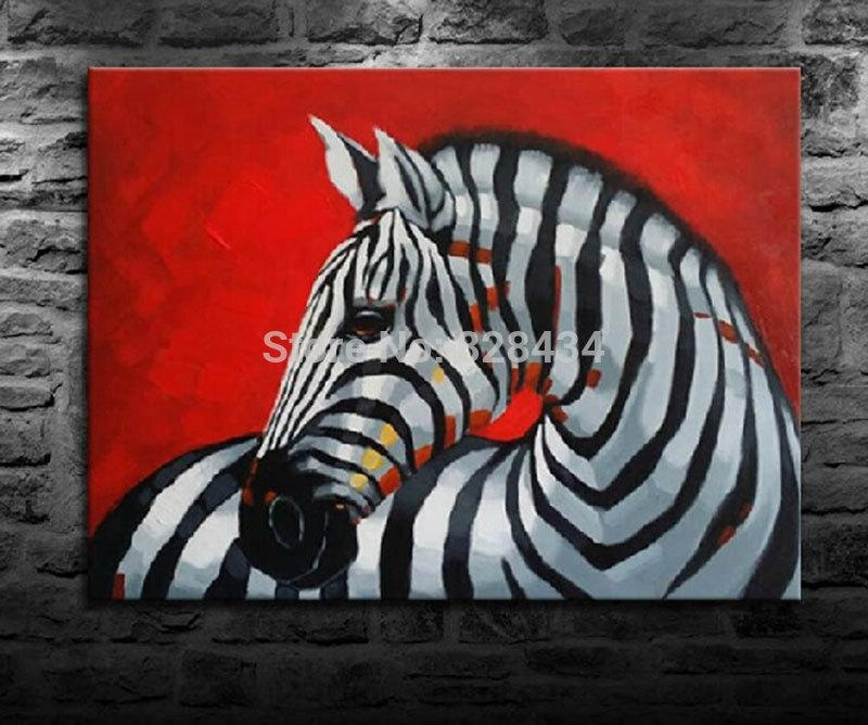 2018 On The Canvas, Hand Painted Wall Art Red Background Zebra With Zebra Canvas Wall Art (View 12 of 25)