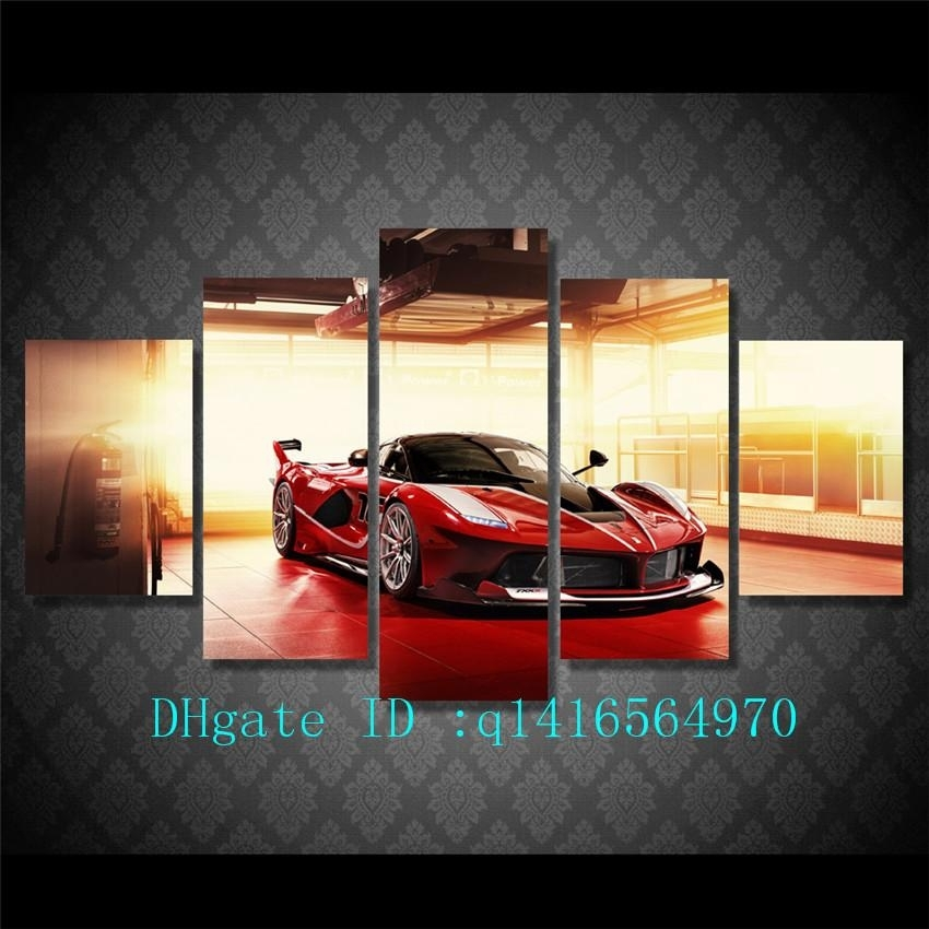 2018 Red Luxury Sports Car,canvas Prints Wall Art Oil Painting Home Pertaining To Car Canvas Wall Art (View 12 of 25)