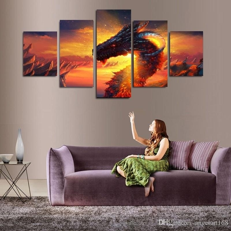 2018 Shiny Dragon Wall Art Oil Painting On Canvas No Frame Animal For Dragon Wall Art (Image 2 of 25)
