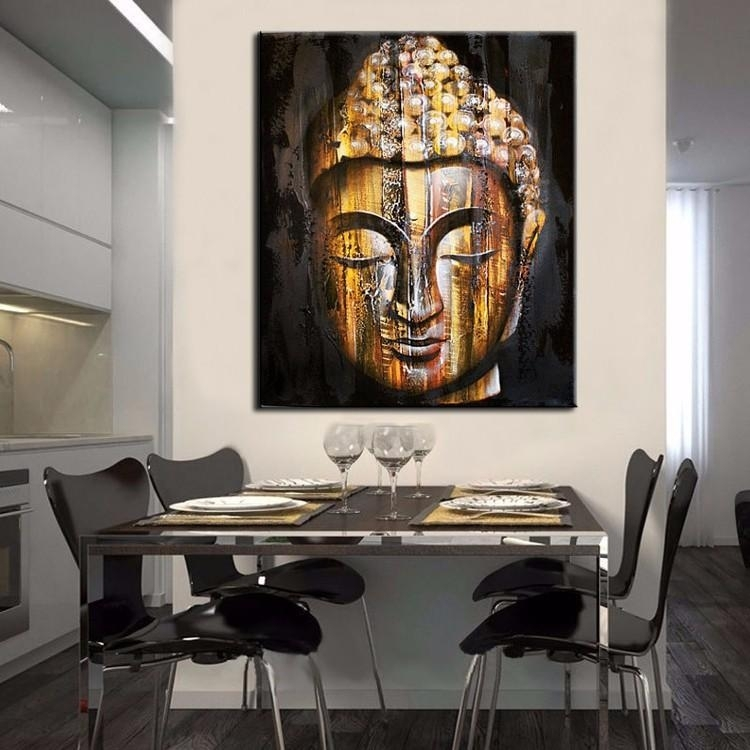 2018 Top Quality Hand Painted Goldern Buddha Face Painting Modern Throughout Modern Wall Art Decors (Image 4 of 25)