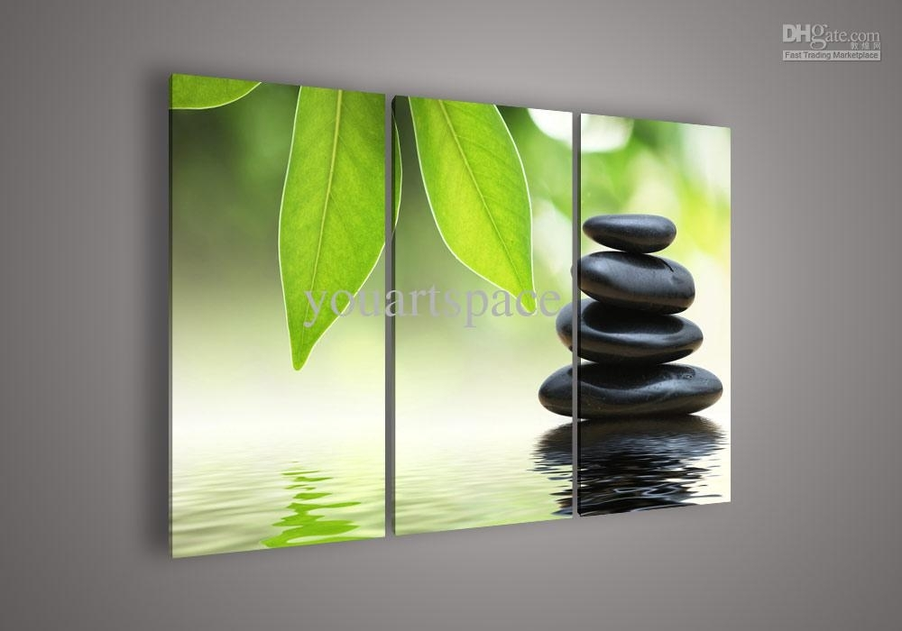 2018 Wall Art Botanical Feng Shui Green Picture Oil Painting On Within Green Wall Art (Image 5 of 25)