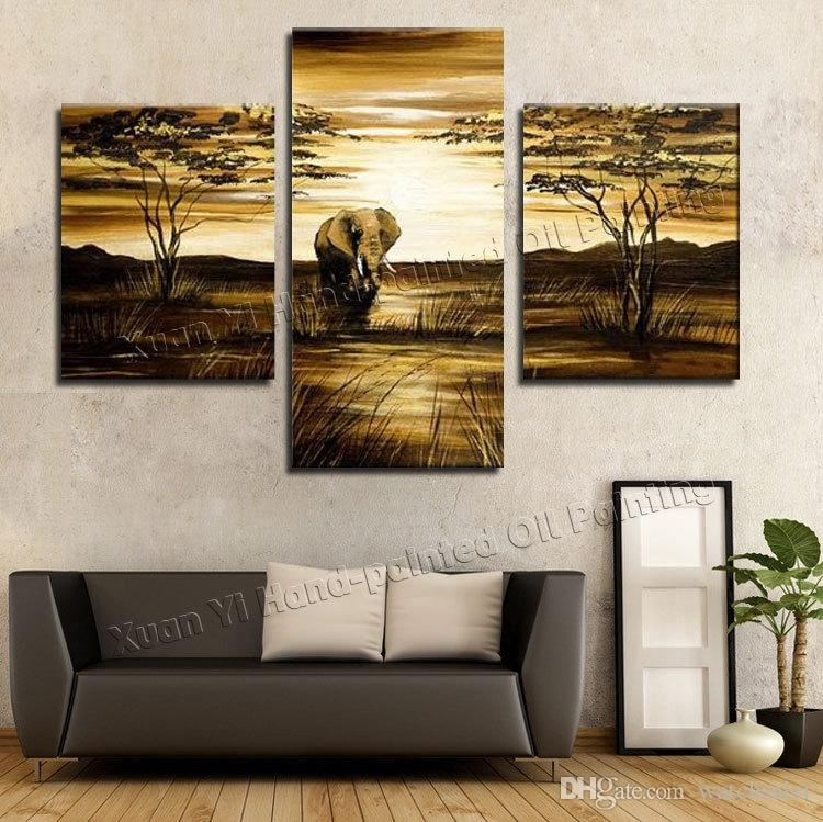 2018 Wall Art Grassland African Elephants Animals Sunrise Home In 3 Piece Canvas Wall Art (Image 3 of 20)