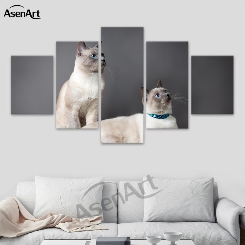 2018 Wall Art Lovely Animal Dog And Cat Canvas Painting Prints With Cat Canvas Wall Art (Image 1 of 25)