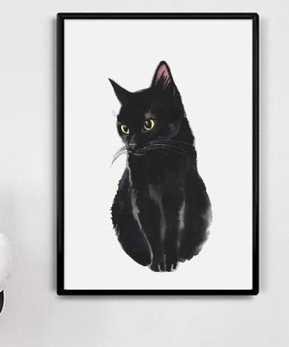 2018 Watercolor Black Cat Canvas Art Print Painting Poster, Wall With Cat Canvas Wall Art (View 2 of 25)