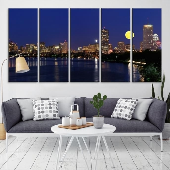 22585 - Boston City Decorative Wall Art Canvas Print - Boston within Boston Wall Art