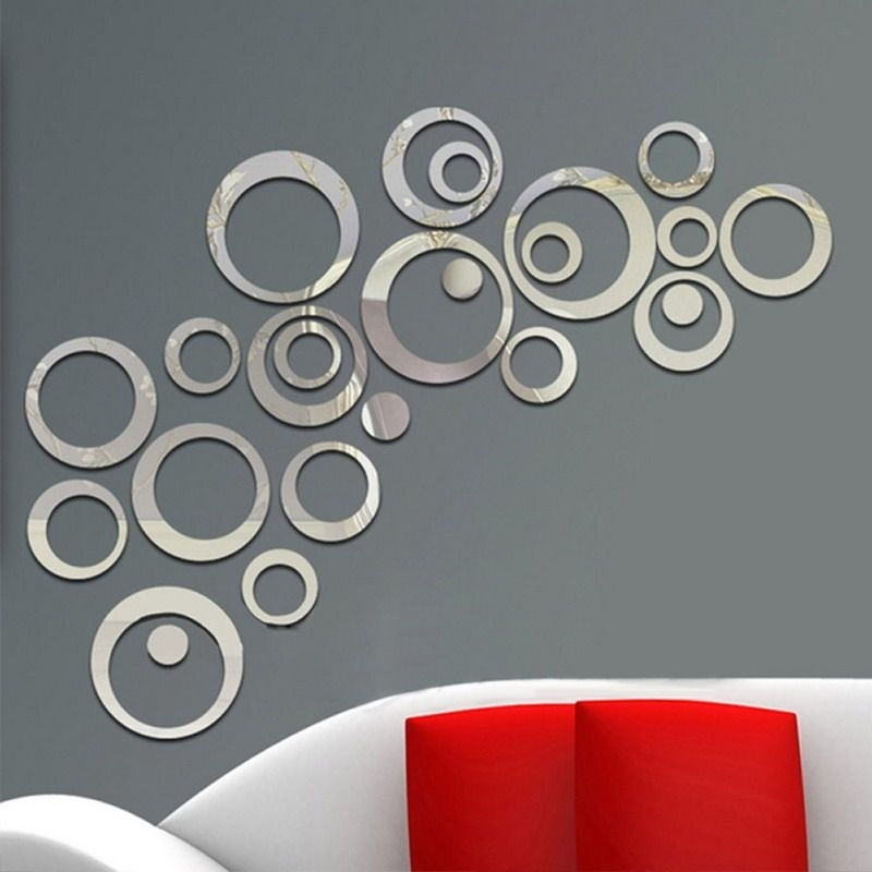 24Pcs Circles Wall Mirror Stickers Removable Decal Vinyl Art Mural In Circle Wall Art (Image 1 of 25)