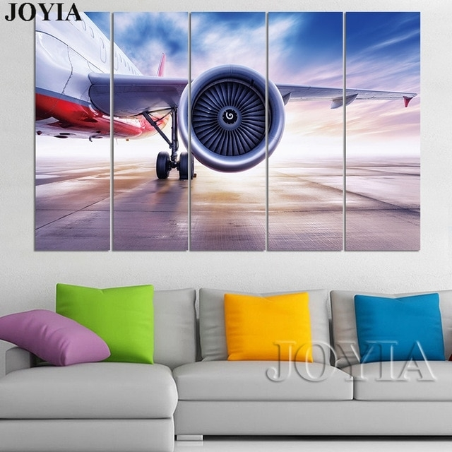 3 4 5 Piece Plane Wall Art Aviation Canvas Art Aircraft Painting For Aviation Wall Art (Image 1 of 25)