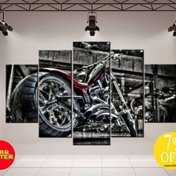3 Motorcycle Wall Art Shop, Motorcycle Wall Art Etsy Within Motorcycle Wall Art (Image 2 of 25)