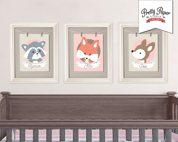 3 Pack Woodland Nursery Wall Art // Instant Download // Pink Baby Throughout Woodland Nursery Wall Art (Image 1 of 25)
