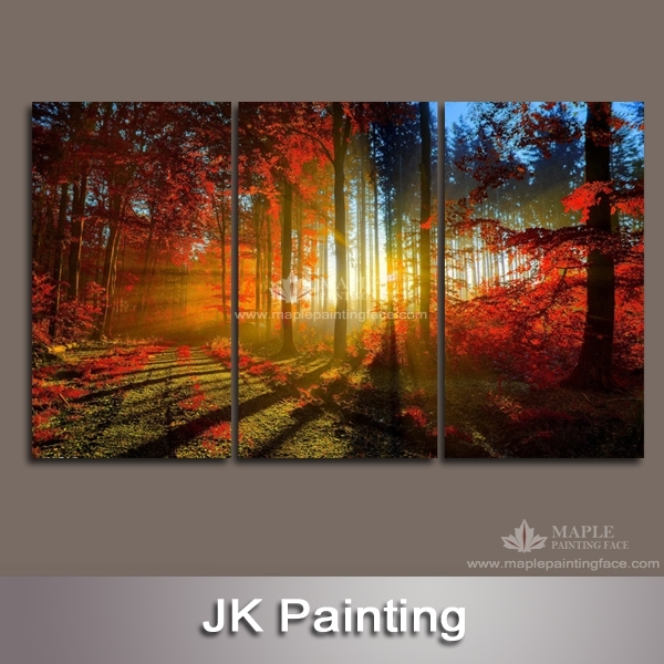 3 Panel Canvas Art Of Red Forest Giclee Printed From Digital Photo Inside Wall Art Panels (View 19 of 25)