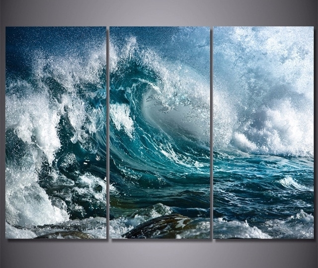 3 Panel Canvas Wall Art Blue Ocean Sea Waves Painting The Picture Intended For Ocean Wall Art (Image 3 of 25)