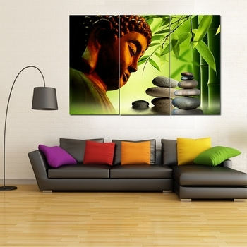 3 Panel Canvas Wall Art Classical Buddha's Head,home Decor Canvas For Panel Wall Art (Photo 17 of 25)