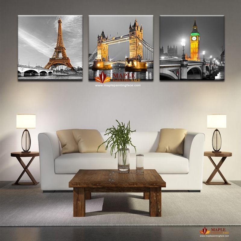 3 Panel Hot Sell Modern Abstract Paris Effiel Tower Painting Picture With Regard To Cheap Framed Wall Art (Photo 11 of 25)