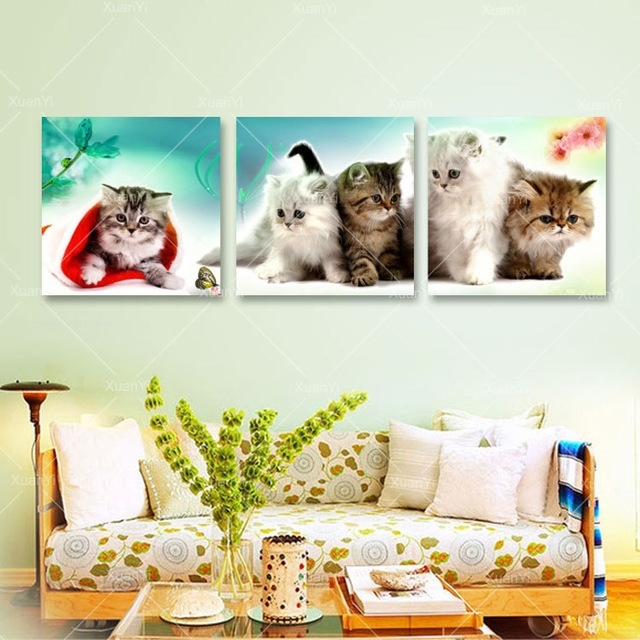 3 Panel Kitty Cat Canvas Painting Cuadros Decoration Animal Wall Art In Cat Canvas Wall Art (Image 3 of 25)