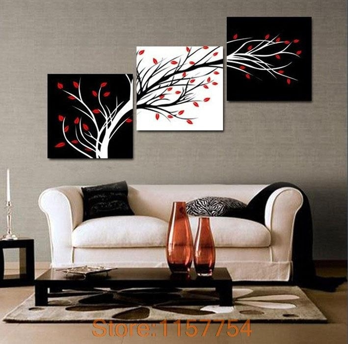 3 Panel Money Tree Modern Wall Art Black And White Decorative Pertaining To Modern Wall Art (Image 1 of 10)