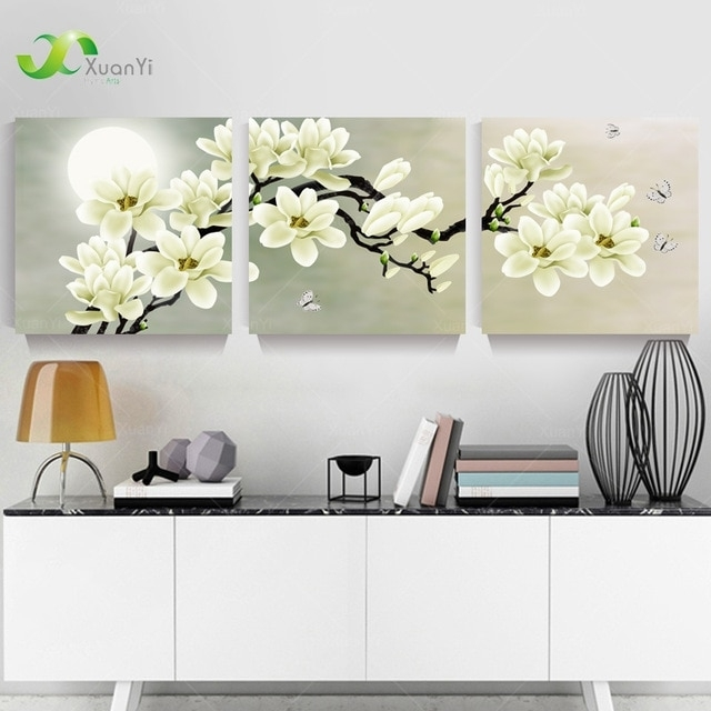 3 Panel Orchid Flowers Wall Art Pictures Wall Flower Canvas Painting Inside Floral Canvas Wall Art (Photo 3 of 25)