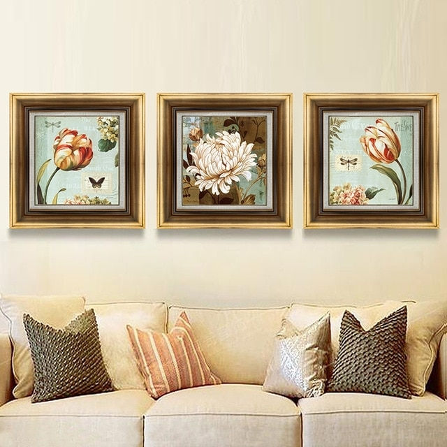 3 Panel Vintage Flowers Butterfly Dragonfly Modern Canvas Print With Regard To Dragonfly Painting Wall Art (Image 4 of 25)