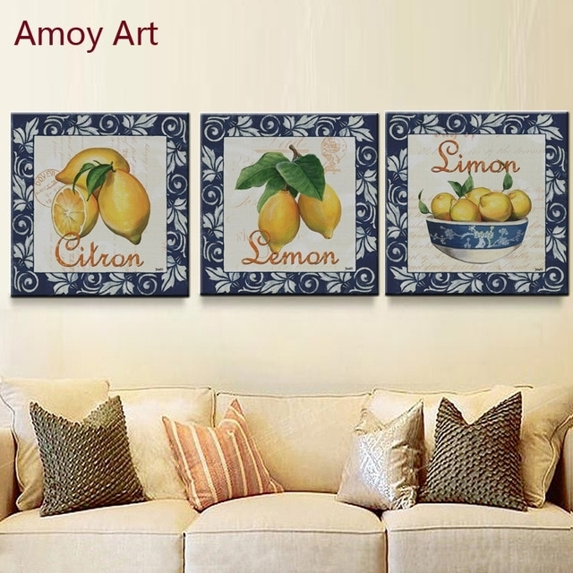 3 Panel Vintage Simon Lemon Home Decor Wall Art Kitchen Picture With Lemon Wall Art (Photo 4 of 20)