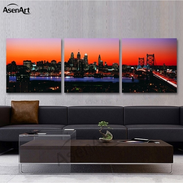 3 Panel Wall Art Canvas Prints Philadelphia Skyline With Franklin In Panoramic Wall Art (Photo 9 of 10)