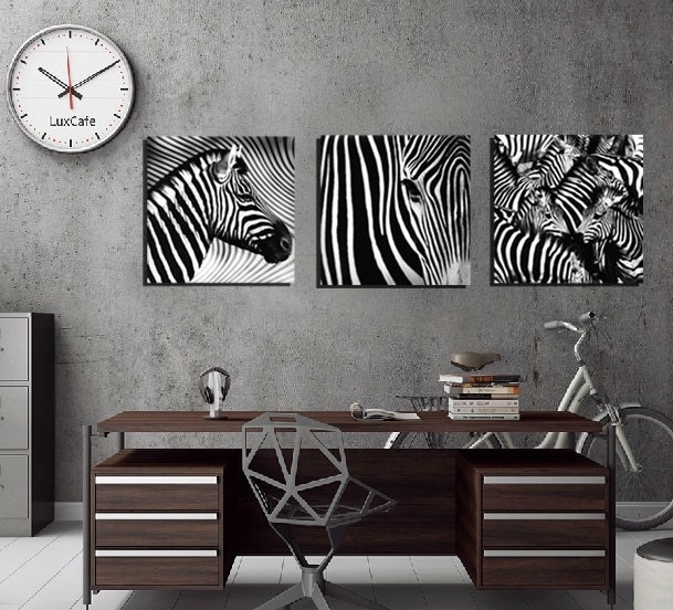 3 Panel Wall Art Decorative Paintings Black And White Zebra Decor In Zebra Canvas Wall Art (View 7 of 25)