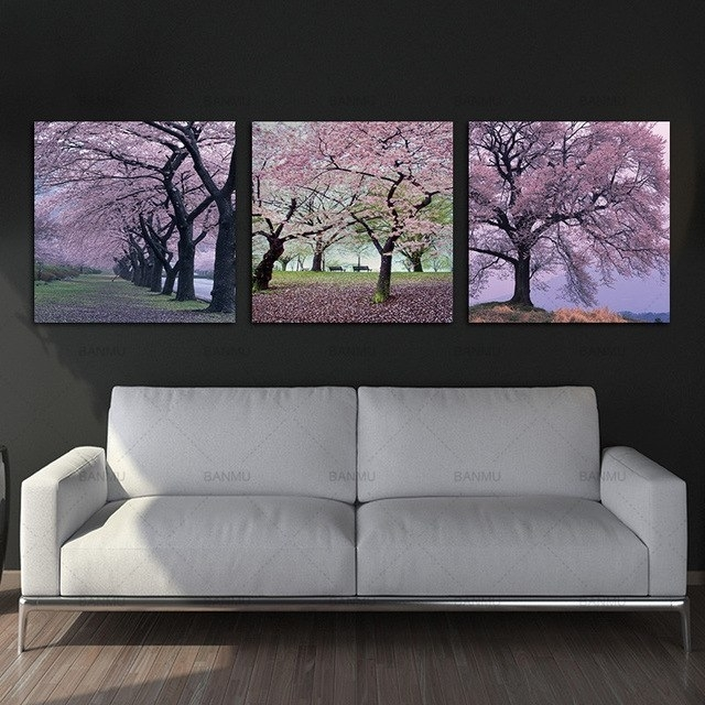3 Panels Canvas Painting Wall Art Picture Photo Prints Cherry Pertaining To Cherry Blossom Wall Art (Photo 18 of 25)