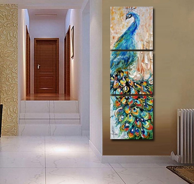 3 Panels Canvas Peacock Painting On Canvas Wall Art Picture Home Throughout Tile Canvas Wall Art (Photo 12 of 25)