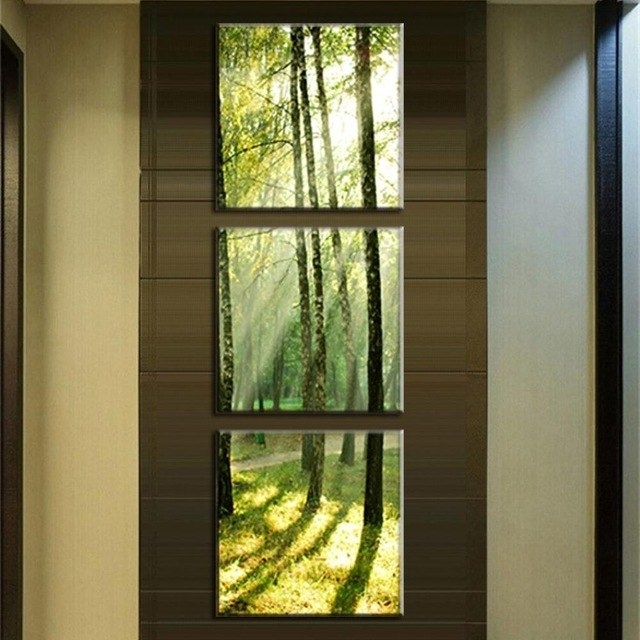 3 Pcs/set Modern Canvas Wall Paintings Sunshine On The Trees Canvas Inside Vertical Wall Art (Photo 13 of 20)