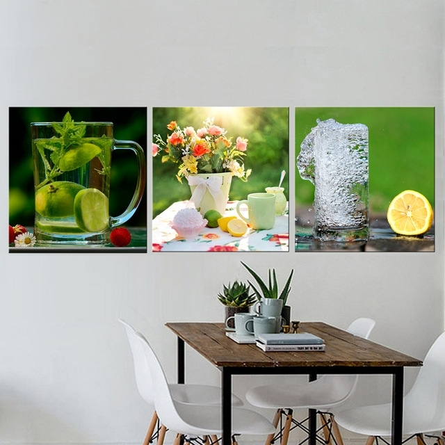 3 Pcs Still Life Lemon Pictures For Kitchen Canvas Prints Wall Decor Regarding Kitchen Canvas Wall Art Decors (Image 1 of 25)