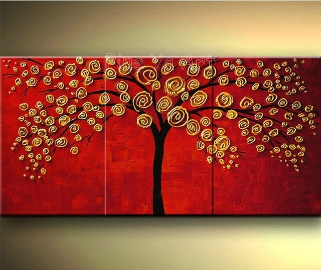 3 Piece Abstract Wall Art Cheap Modern Red Hand Made Tree Flower Within Red Wall Art (Photo 6 of 10)
