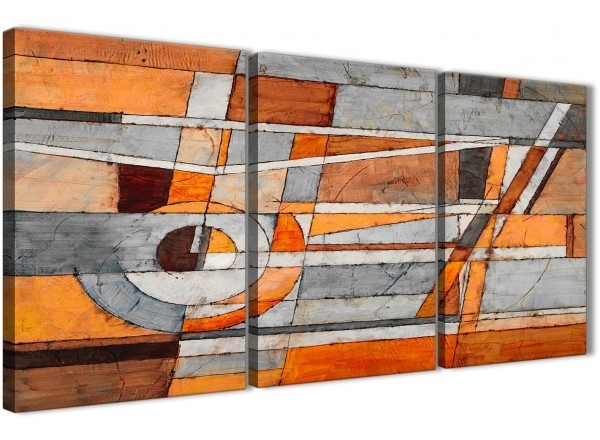 3 Piece Burnt Orange Grey Painting Office Canvas Wall Art Decor In Orange Wall Art (Photo 15 of 25)