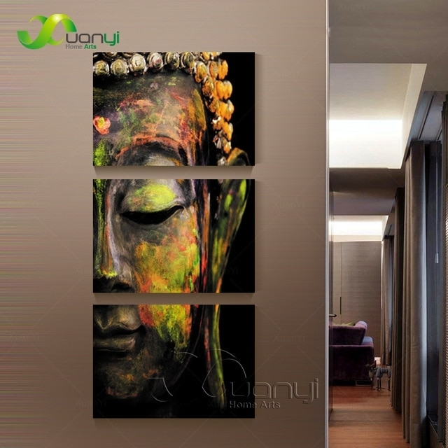 3 Piece Canvas Wall Art Canvas Painting Buddha Canvas Art Oil Within Wall Canvas Art (Image 4 of 10)
