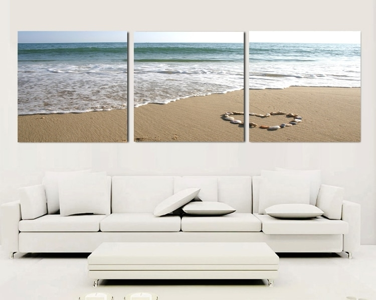 3 Piece Canvas Wall Art Sets Beach Painting Heart Stone Oil with 3 Piece Canvas Wall Art