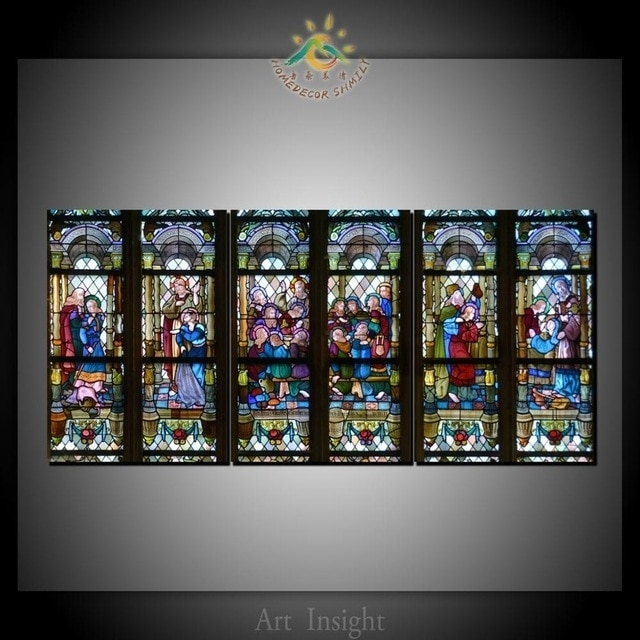 3 Piece Christian Stained Glass Style Flower Glass Canvas Wall Art Throughout Stained Glass Wall Art (Photo 6 of 25)