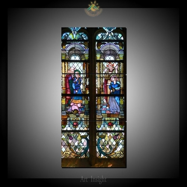 3 Piece Christianity Stained Glass Style 1 Canvas Art Wall Pictures With Regard To Stained Glass Wall Art (Photo 4 of 25)