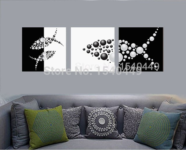 3 Piece Hand Painted Black White Canvas Painting Abstract Fish Inside Fish Painting Wall Art (Image 6 of 25)