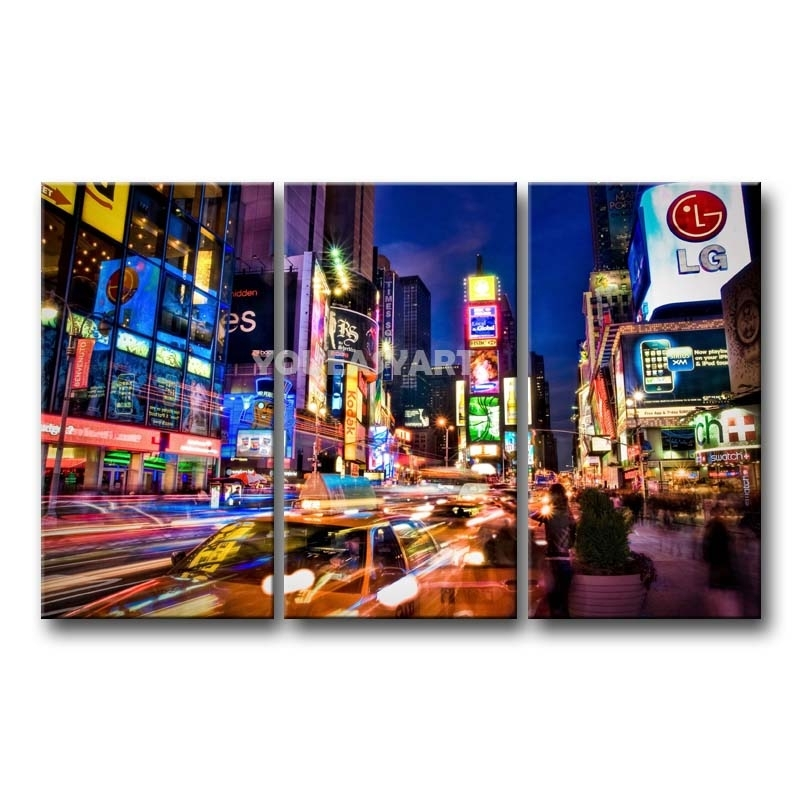 3 Piece Painting On Canvas Wall Art Nyc Street Lights New York inside Nyc Wall Art