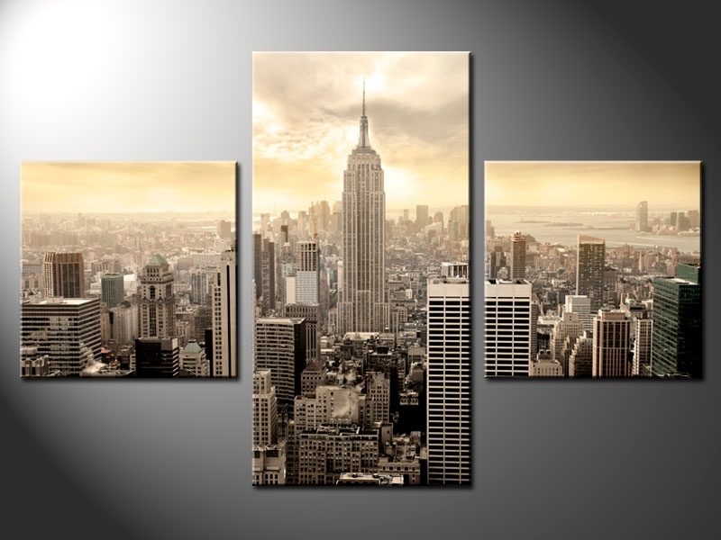 3 Piece Split Canvas – Cherry Blossom Throughout New York Canvas Wall Art (Image 1 of 10)